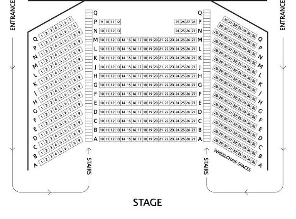 Venue 1 seating plan for Brunton
